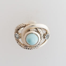 Larimar & Zircon Intertwined Sterling Silver Ring