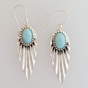 Larimar Leaf Earrings set in Sterling Silver