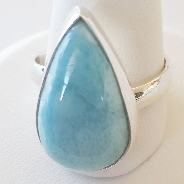 Larimar Adjustable Sterling Silver Ring