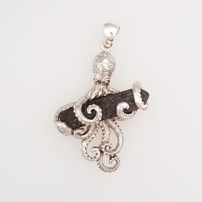 Lava Crystal Octopus Pendant Set in Sterling Silver