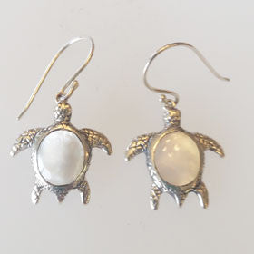 Mother of Pearl Turtle Earrings Set in Sterling Silver