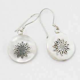 Mother of Pearl Flower Sterling Silver Earrings