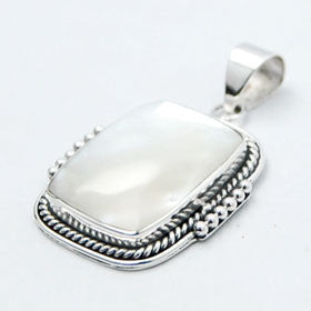 Mother of Pearl Square Sterling Silver Pendant