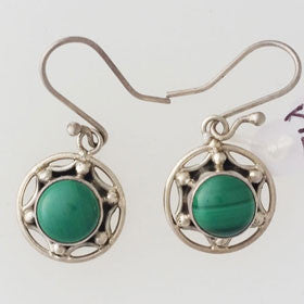 Malachite Round Sterling Silver Earrings