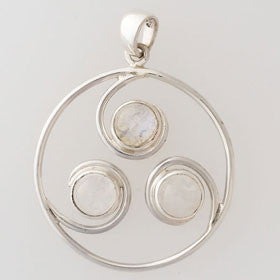 Moonstone Tri Circle Sterling Silver Pendant