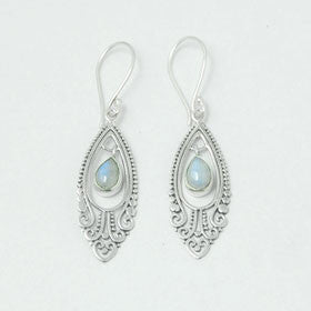 Moonstone and Lace Sterling Silver Earrings