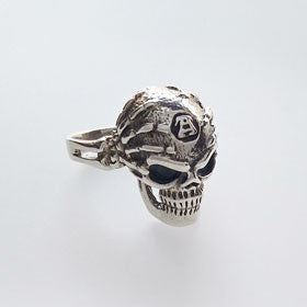 Sterling Silver Pirate Skull in Hands Ring