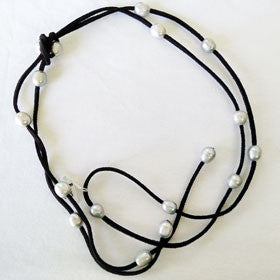 Pearl and Black Leather Necklace (Adjustable)