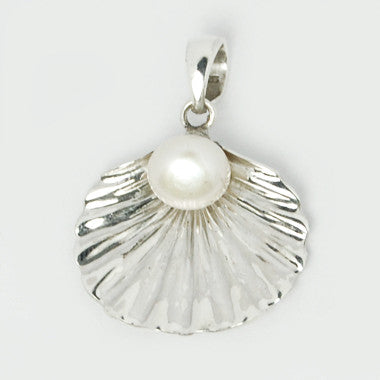 Pearl in Half Shell Sterling Silver Pendant