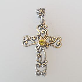 Peridot Filigree Cross Set in Sterling Silver