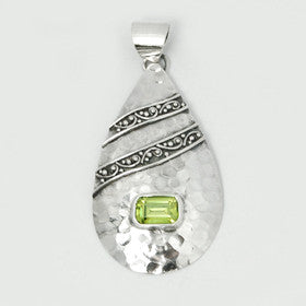 Peridot Sterling Silver Hammered Oval Pendant