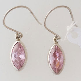 Pink Zircon Sterling Silver Earrings