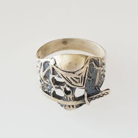 Sterling Silver Pirate Skull Sword Ring