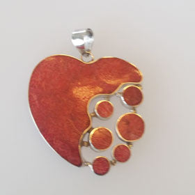 Red Coral Heart Pendant Set in Sterling Silver