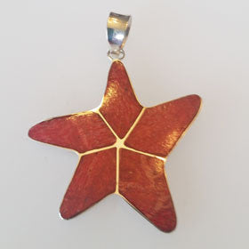 Red Coral Starfish Pendant Set in Sterling Silver