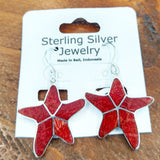 Red Coral Starfish Earrings Set in Sterling Silver