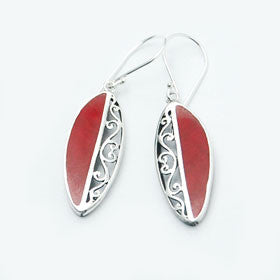 Red Coral Half Filigree Earrings in Sterling Silver