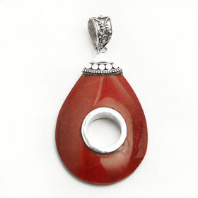 Red Coral Open Oval  Pendant in Sterling Silver