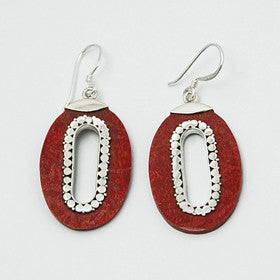 Red Coral Oval Earrings in Sterling Silver