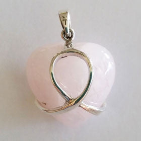 Rose Quartz Breast Cancer Heart Pendant in Sterling Silver