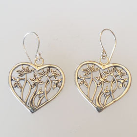 Sterling Silver Heart Vine Earrings
