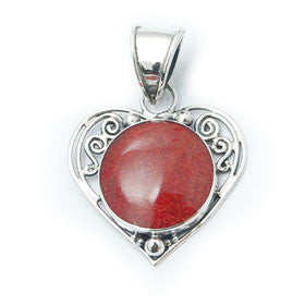 Red Coral Scroll Heart Pendant in Sterling Silver