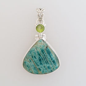 Amazonite with Peridot Sterling Silver Pendant