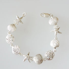 Sterling Silver Starfish, Sand Dollar, Shell Bracelet