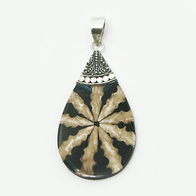 Black & Brown Shell Collage Pendant in Sterling Silver