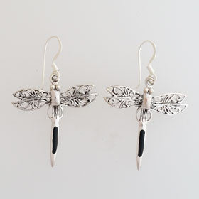 Sterling Silver Onyx Dragonfly Earrings