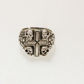 Sterling Silver Skulls and Cross Ring