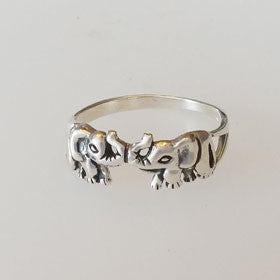 Sterling Silver Elephant Trunks Up Ring
