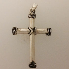 Sterling Silver Large Rope Cross Pendant