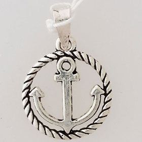 Sterling Silver Anchor & Rope Circle Pendant