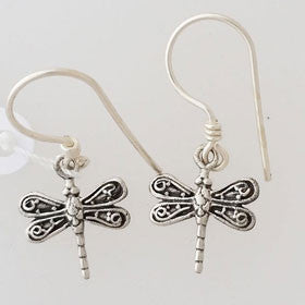 Sterling Silver Small Dragonfly Earrings