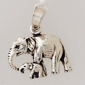 Sterling Silver Elephant and Baby Penant