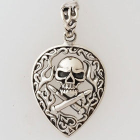 Sterling Silver Pirate Skull and Crossbones Pendant