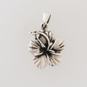 Sterling Silver Hibiscus Flower Pendant