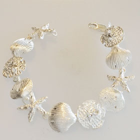 Sterling Silver Starfish, Sand Dollar & Shell Bracelet Large