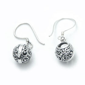 Sterling Silver Bali Balls Earrings