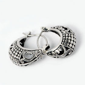 Sterling Silver Bali Style Cutout Hoop Earrings
