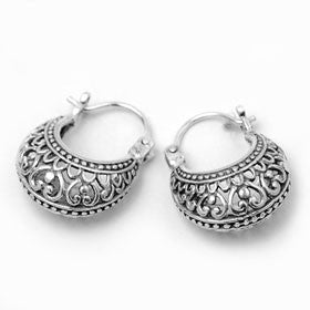 Sterling Silver Bali Design Earring Hoops