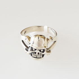 Sterling Silver Pirate Teeth Skull Ring