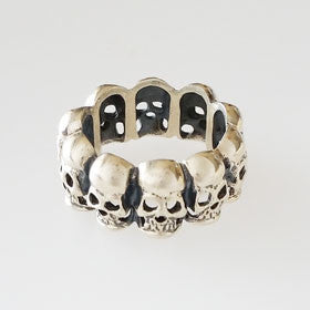 Sterling Silver Small Skull Wrap Band Pirate Ring
