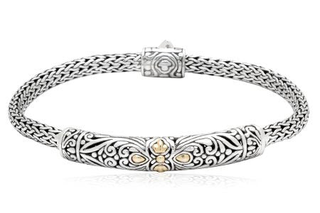 Sterling Silver Balinese Motif Bracelet with 14k Gold Accents