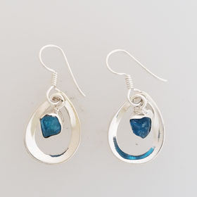 Rough Apatite Drop Sterling Silver Earrings