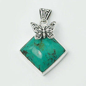 Turquoise Butterfly Pendant in Sterling Silver