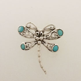 Turquoise Dragonfly Pin Set in Sterling Silver