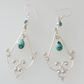 Tibet Turquoise Chadelier Earrings Set in Sterling Silver