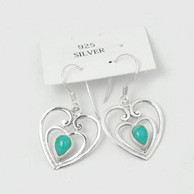 Turquoise Heart Sterling Silver Earrings